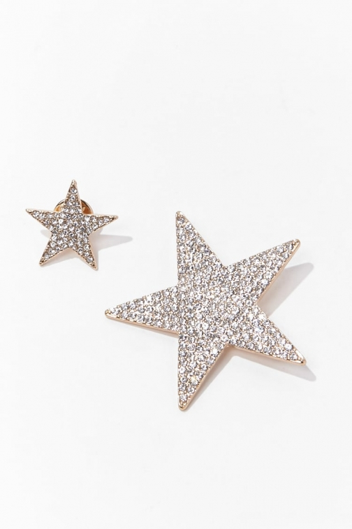 Forever21 Forever 21 Rhinestone Star Set , Gold/clear Pin