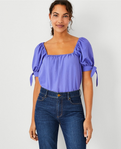 Ann Taylor Square Neck Puff Tie Sleeve Top