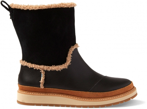 Toms Black Leather And Suede Women's Makenna Boot