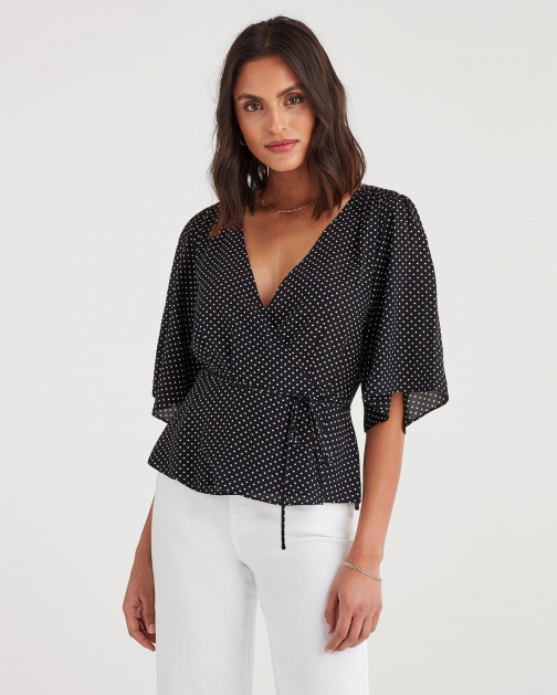 7 For All Mankind Women's Wrap Front Short Sleeve Top Black And White Polka Dot Shirt