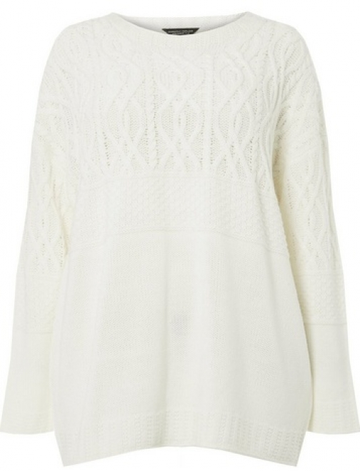 Dorothy Perkins Womens **DP Curve Ivory Maggie Cable - White, White Jumper
