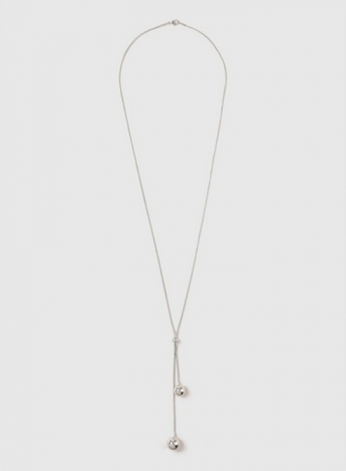 Dorothy Perkins Silver Ball Drop Lariat Necklace