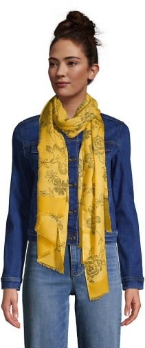 Lands' End Women's Printed - Lands' End - Yellow Scarf