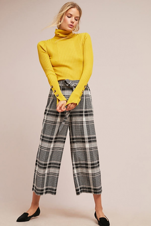 Anthropologie Luca Plaid Wide-Leg Trousers - Assorted, Size Uk Wide Leg Trouser