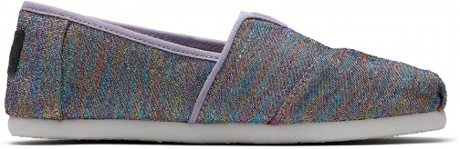Toms Drizzle Grey Multi Glimmer Woven Youth Classics Slip-On Shoes