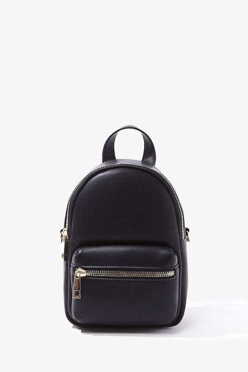 Forever21 Forever 21 Faux Leather Mini , Black Backpack