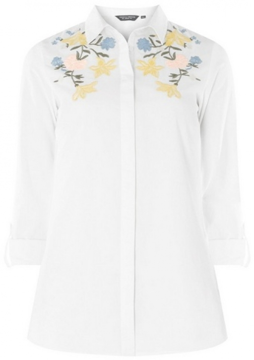 Dorothy Perkins Womens Tall Ivory Tropical Embroidered - White, White Shirt