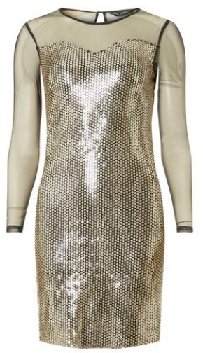 Dorothy Perkins Black And Gold Long Sleeve Bodycon Dress
