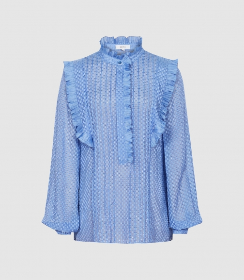 Reiss Taylor - Ruffle Detailed Blue, Womens, Size 4 Blouse
