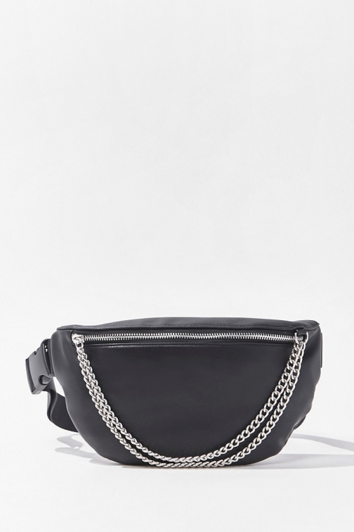 Forever21 Forever 21 Curb Chain Zip-Up , Black Fanny Pack