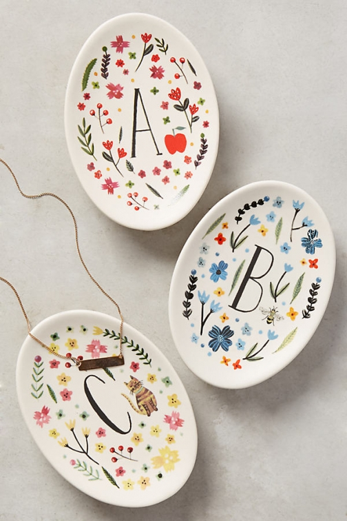 Anthropologie Monogrammed Meadow Trinket Dish - Assorted, Size U Accessorie