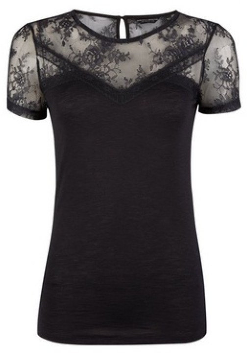 Dorothy Perkins Black Lace Insert T-Shirt