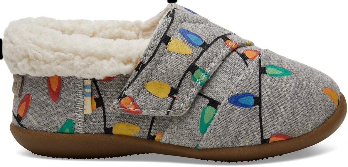 Toms Light Grey Glow The Dark Tree Lights Tiny TOMS House - Size UK3 / US4 Slipper