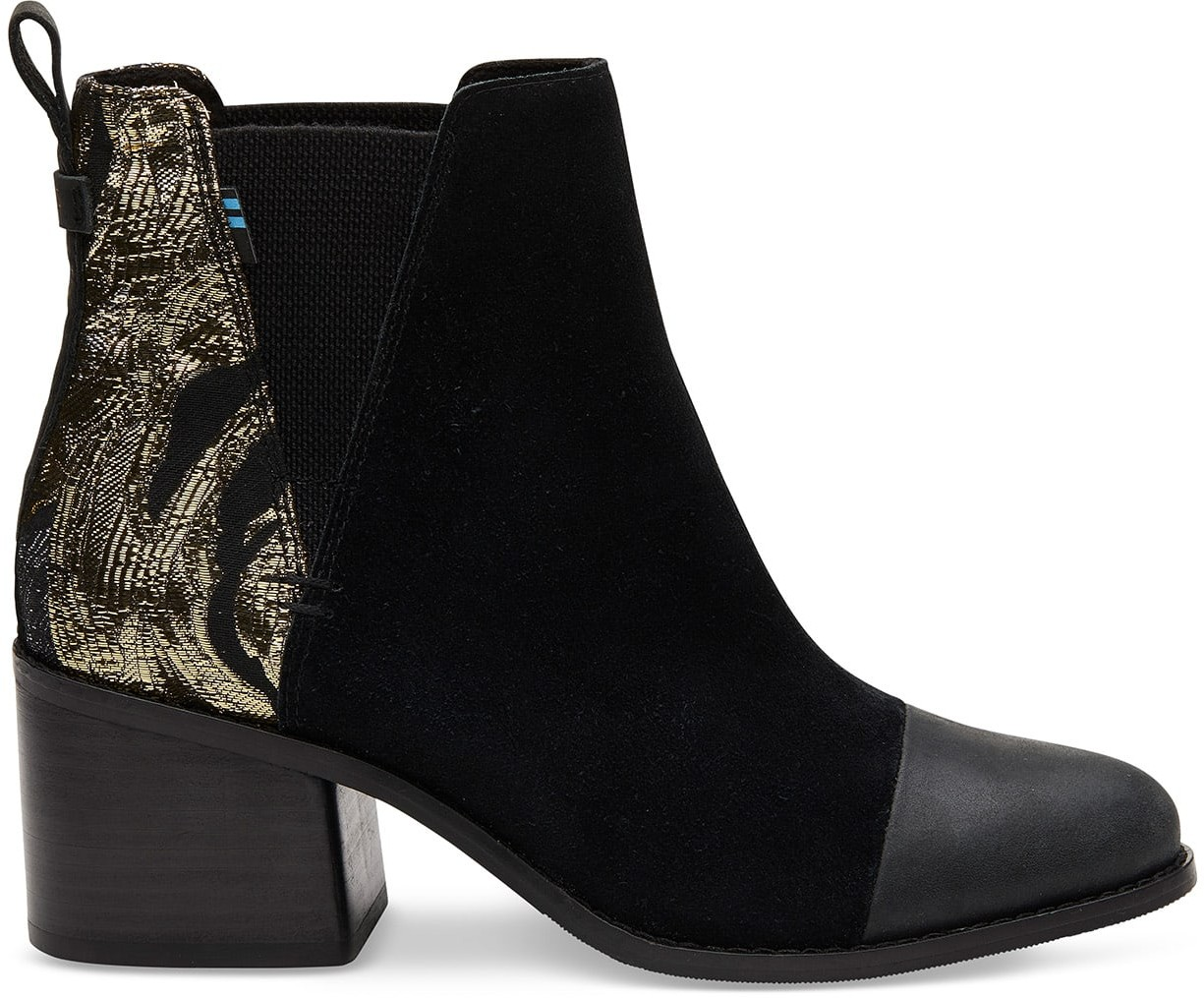 Toms Black Suede And Floral Metallic Jaquard Mix Women's Esme - Size UK4.5 / US 6.5 Boot