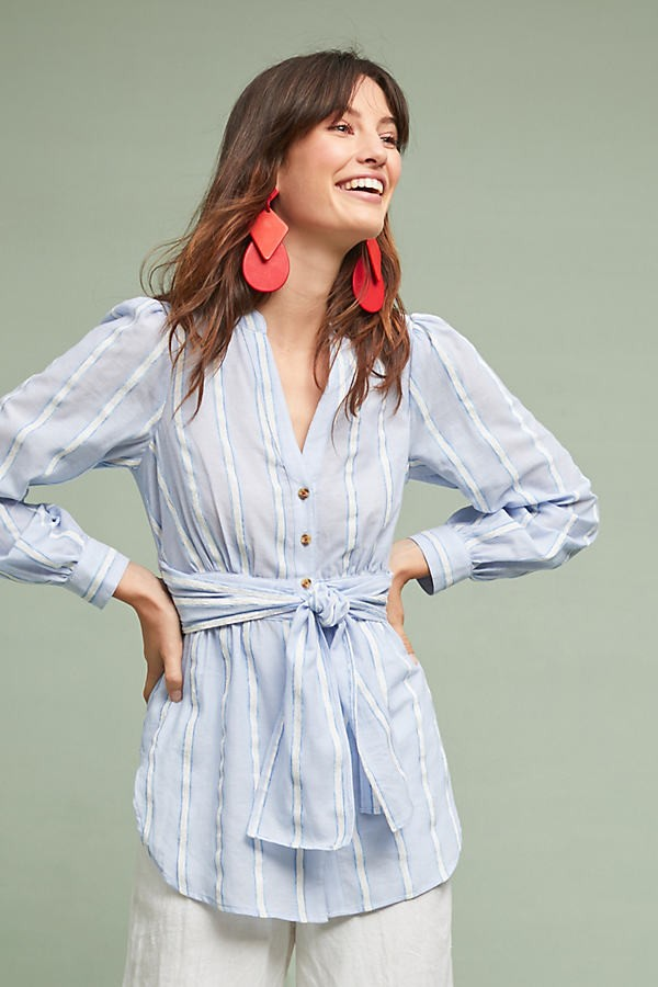 Anthropologie South Seas Belted - Blue, Size Uk Shirt