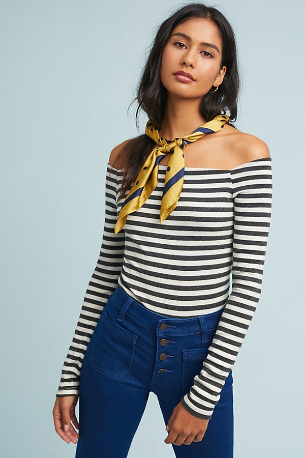 Anthropologie Striped Off-The-Shoulder - Assorted, Size Bodysuit