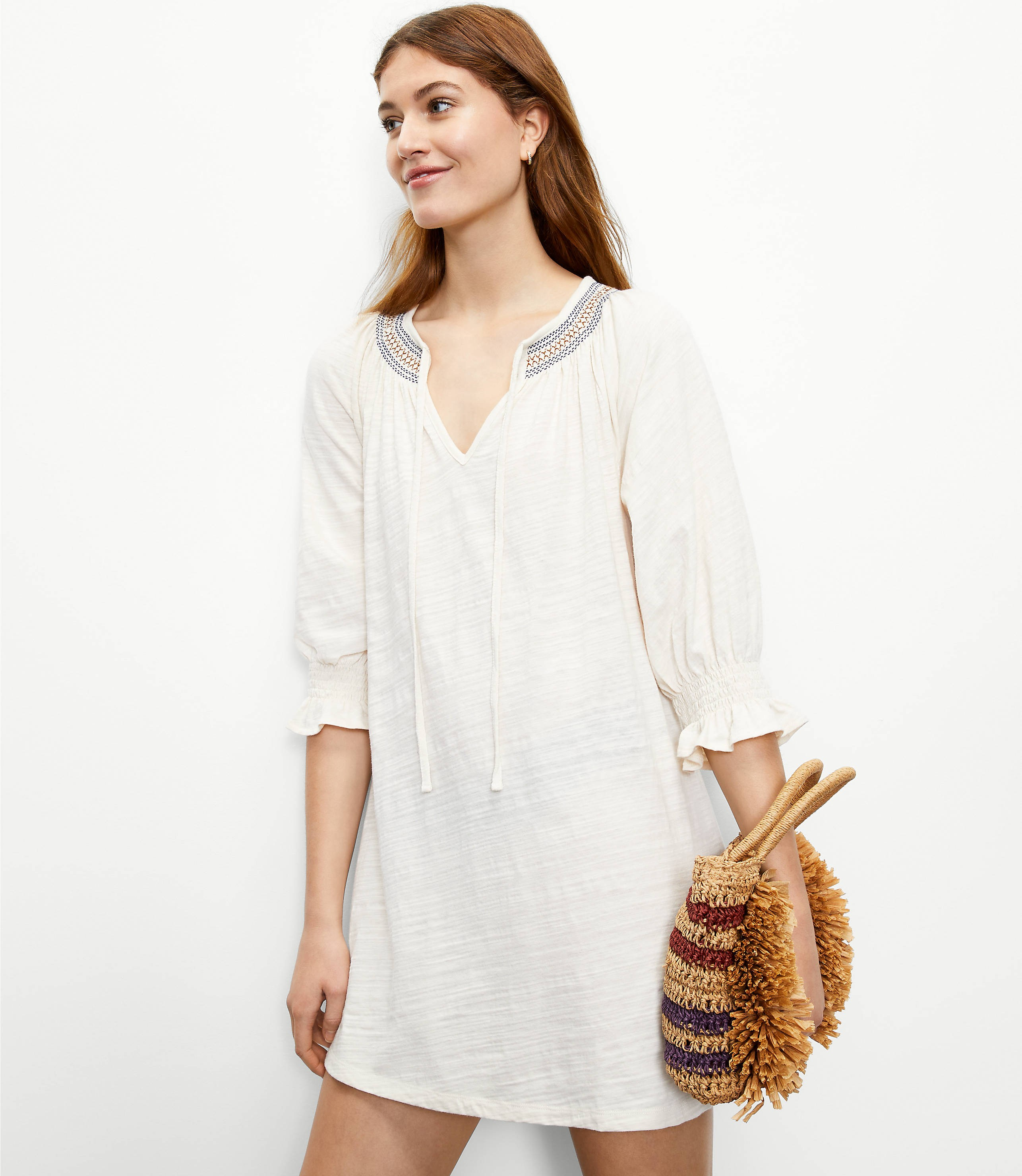 Loft Beach Embroidered Tie Neck Coverup Swimsuit