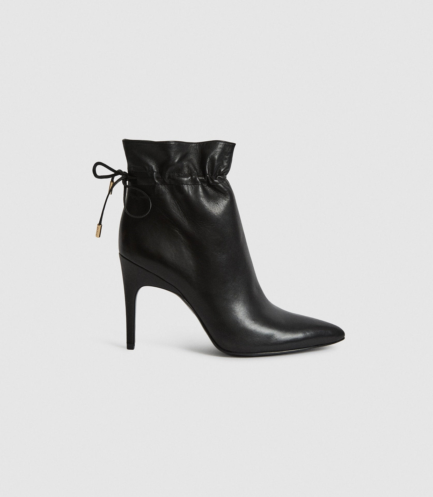 Reiss Russo - Leather Ruched Black, Womens, Size 6 Ankle Boot