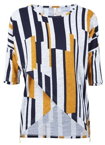 Dorothy Perkins Womens *Izabel London Multi Coloured Stripe Cross Front - Yellow, Yellow Top