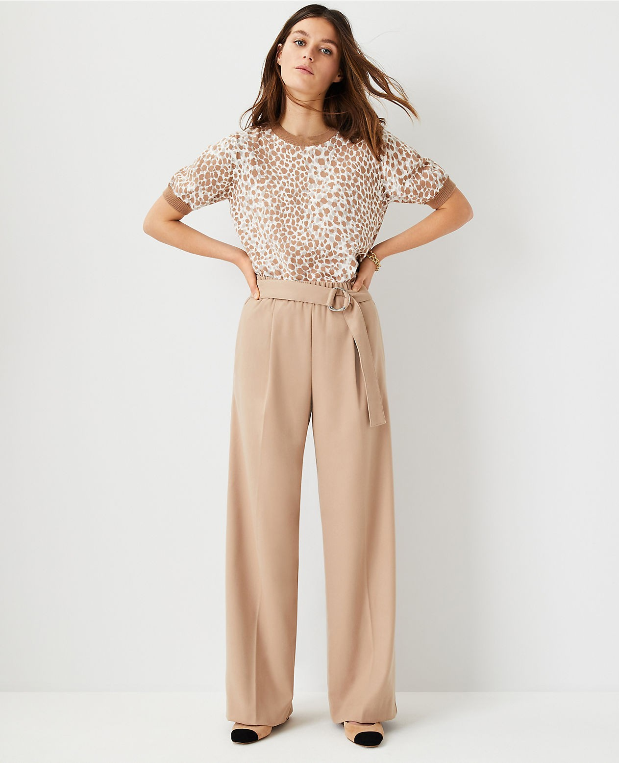 Ann Taylor The Petite Belted Flannel Wide Leg Pant Trouser
