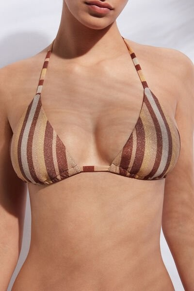 Calzedonia Triangle String Top Dubai Woman Brown Size 2 Swimsuit