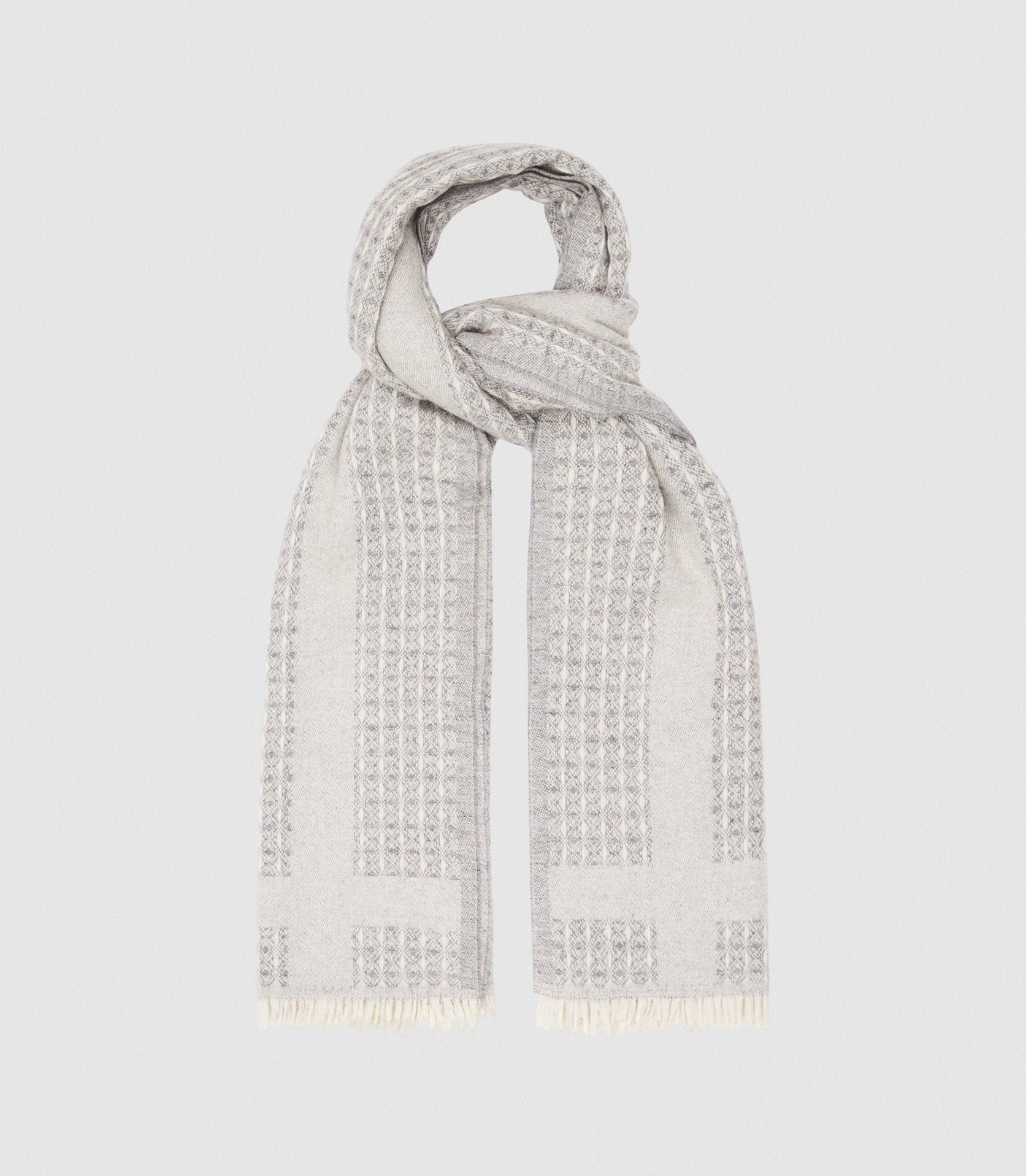 Reiss Claire - Textured Grey, Womens Scarf