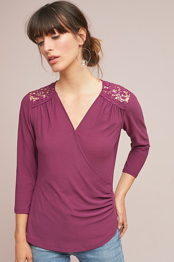 Anthropologie Marywood Wrap - Purple, Size Top