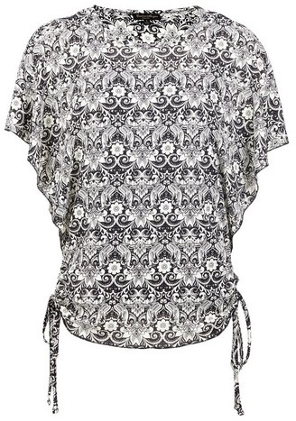 Dorothy Perkins Womens *Izabel London Black Damask Print Boxy - Black, Black Top