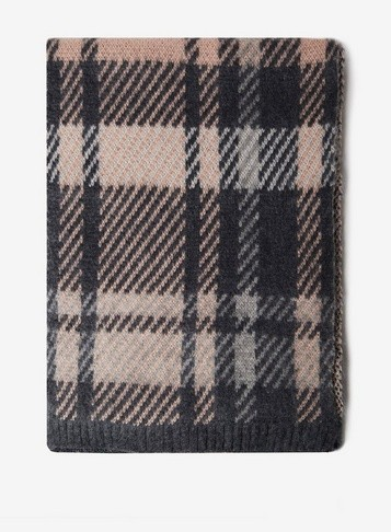 Dorothy Perkins Womens Pink Check Knitted - Grey, Grey Scarf