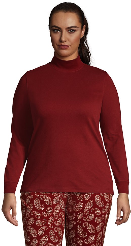 Lands' End Women's Plus Size Relaxed Cotton Long Sleeve Mock Turtleneck - Lands' End - Red - 1X Shirt