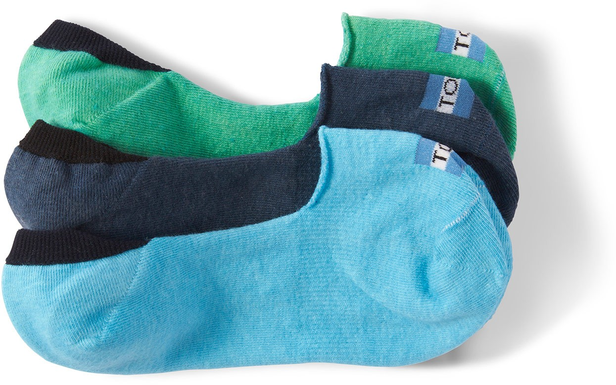 Toms 3 Pack Solid Blues Womens No Show  Sock
