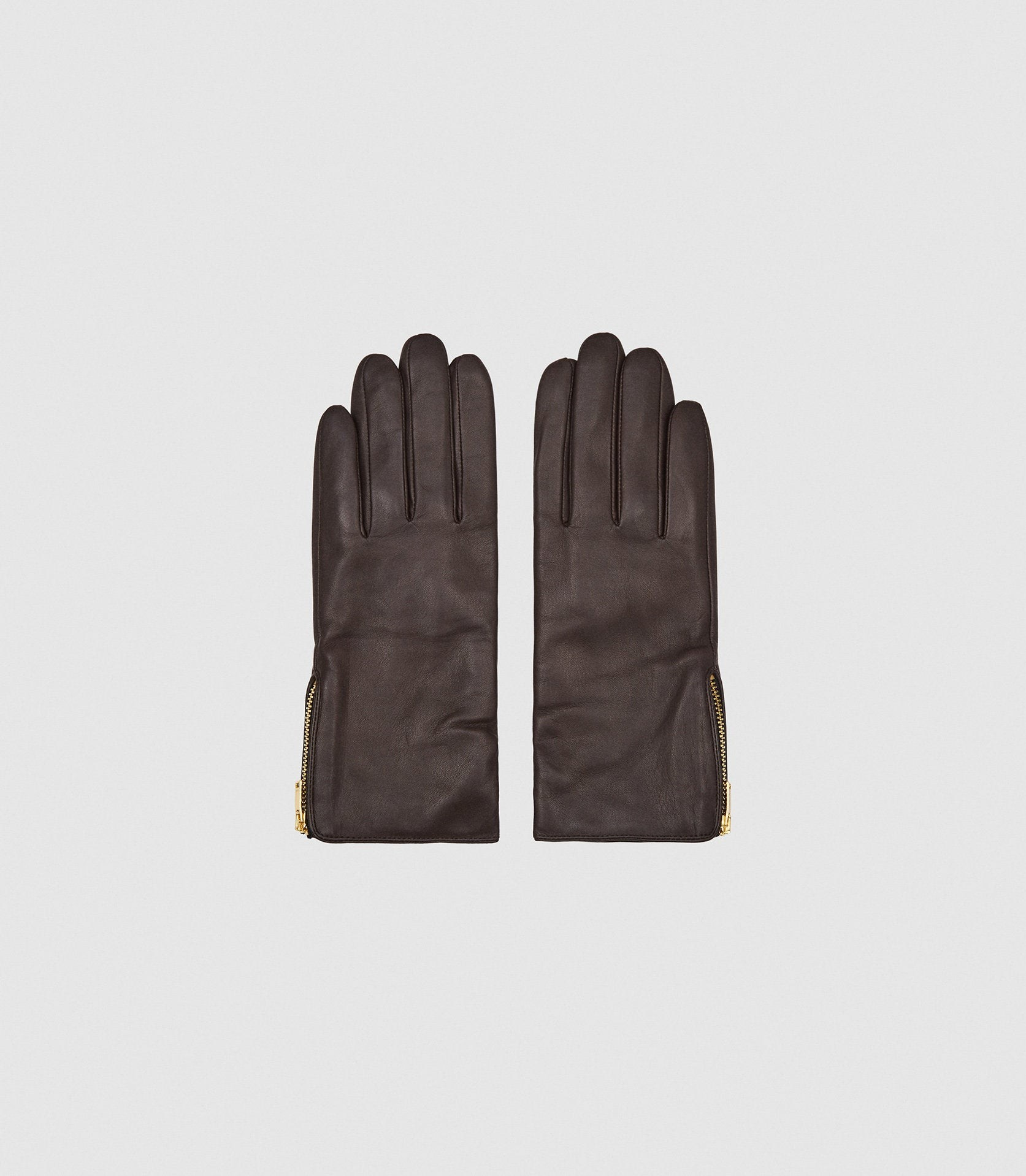 Reiss Emily - Leather Zip Detail Chocolate, Womens, Size S Glove