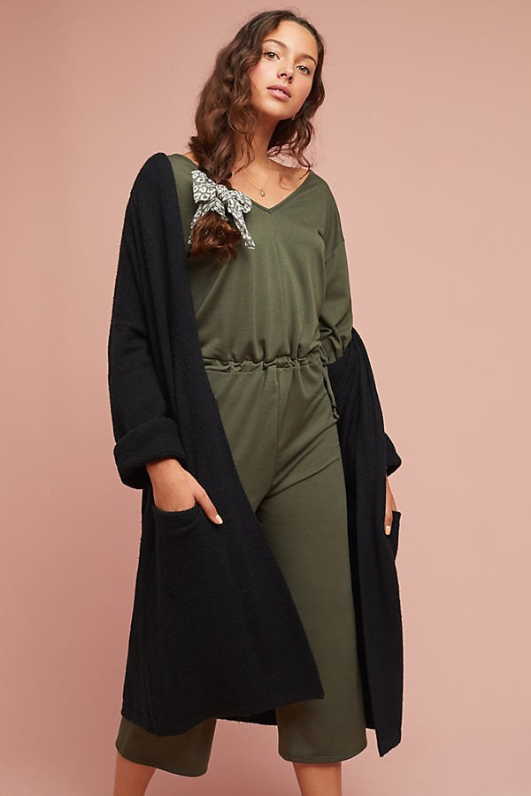 Anthropologie Terry Waisted - Green, Size Jumpsuit