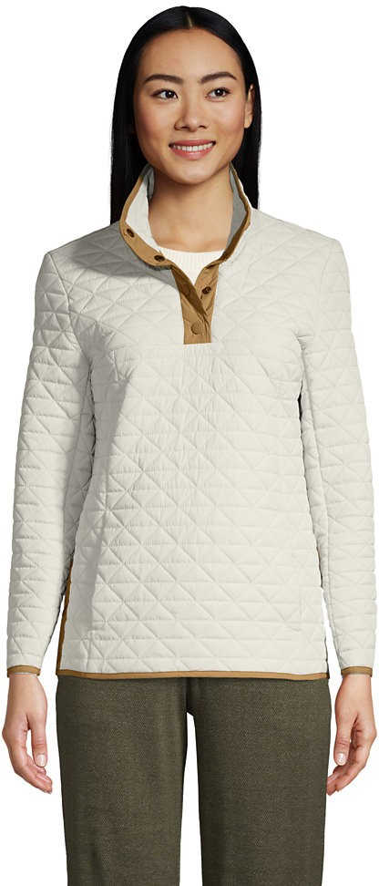 Lands' End Women's Insulated Quilted Snap Neck - Lands' End - Tan - S Pullover