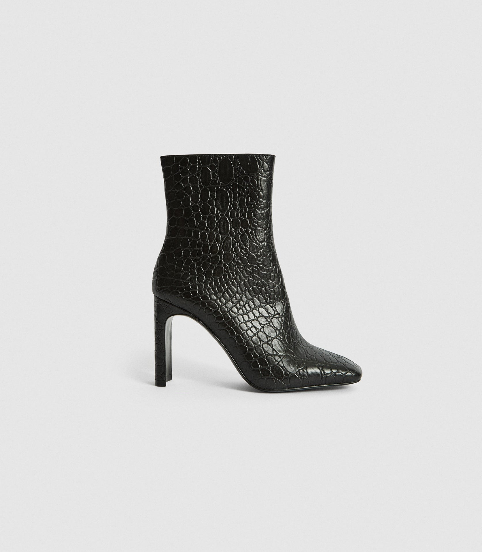 Reiss Vogue - Leather Croc Embossed Black, Womens, Size 3 Ankle Boot