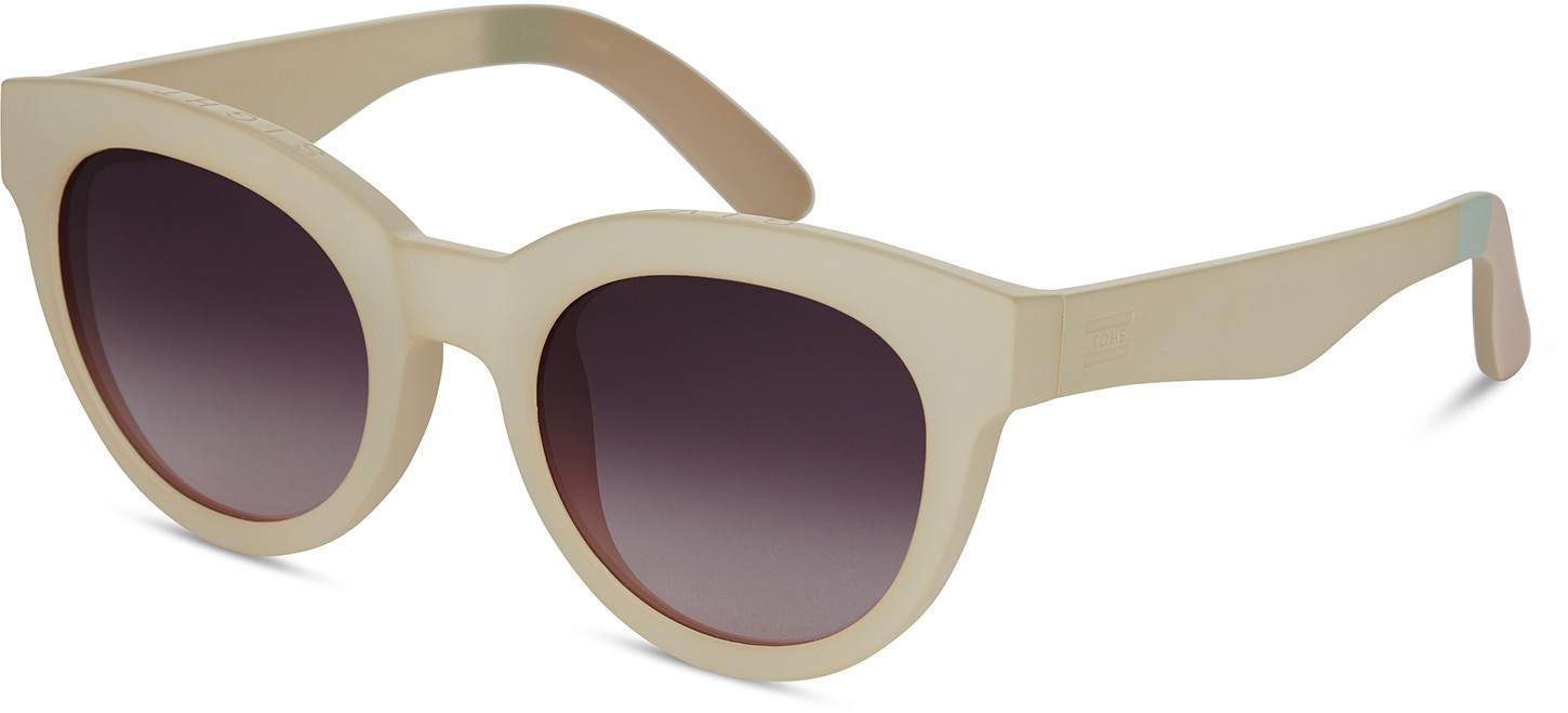 Toms Traveler By TOMS Florentin Matte White Asparagus With Violet Brown Gradient Lens Sunglasses
