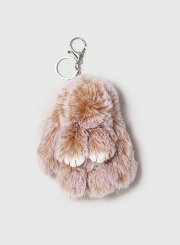 Dorothy Perkins Womens Natural Coloured Bunny Keyring- Brown, Brown Accessorie