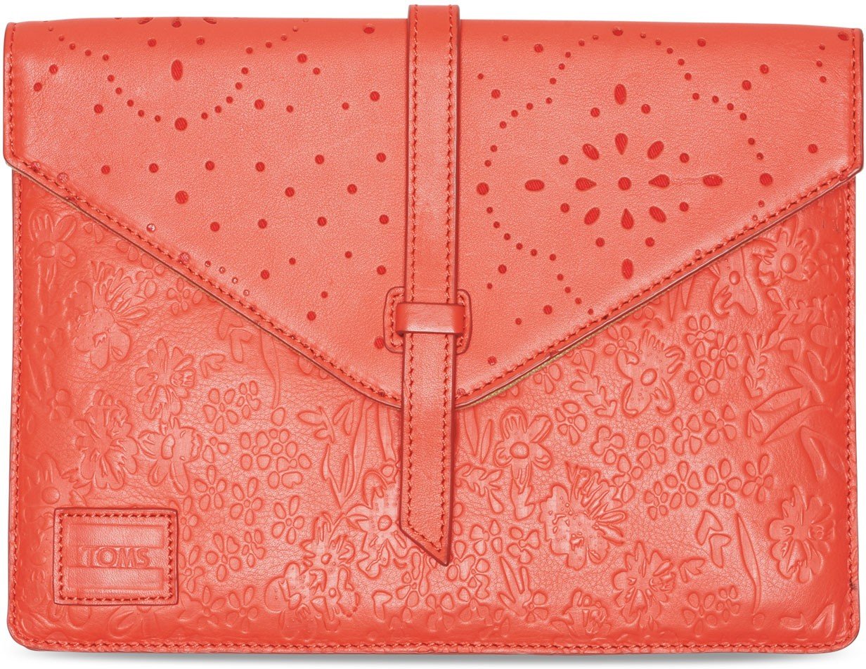 Toms Red Pattern Embossed Jetset Tablet Sleeve Accessorie