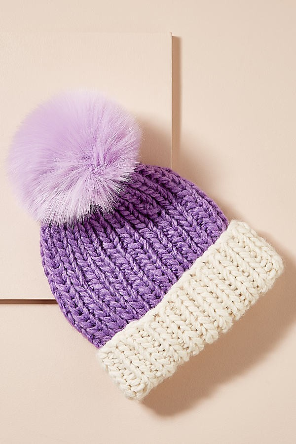 Anthropologie Brida Pommed - Purple Beanie