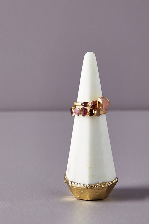 Anthropologie Agate Cone - Black Ring