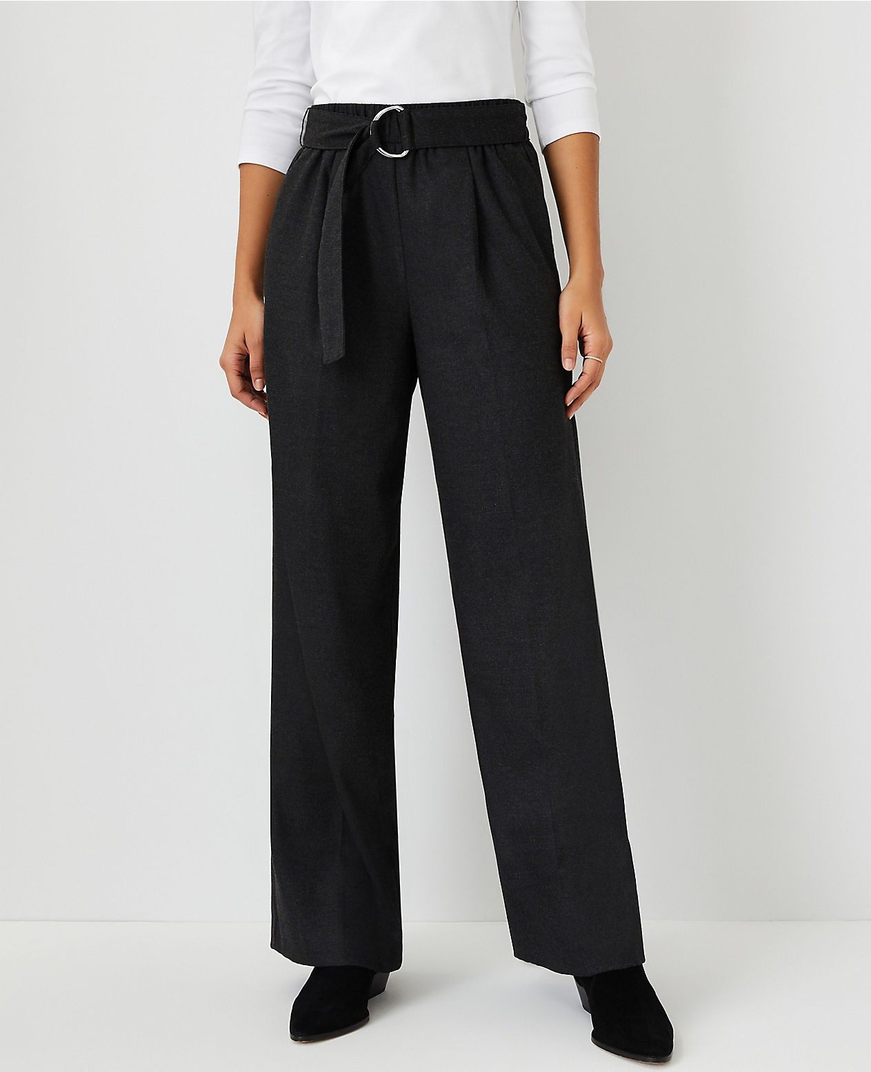 Ann Taylor The Tall Belted Flannel Wide Leg Pant Trouser