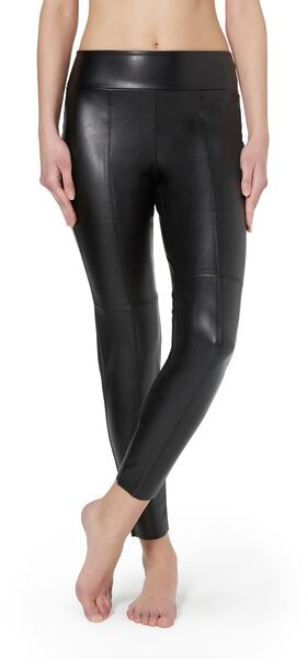 Calzedonia Leather-look Thermal With Raw Cut Trim Woman Black Size XL Legging