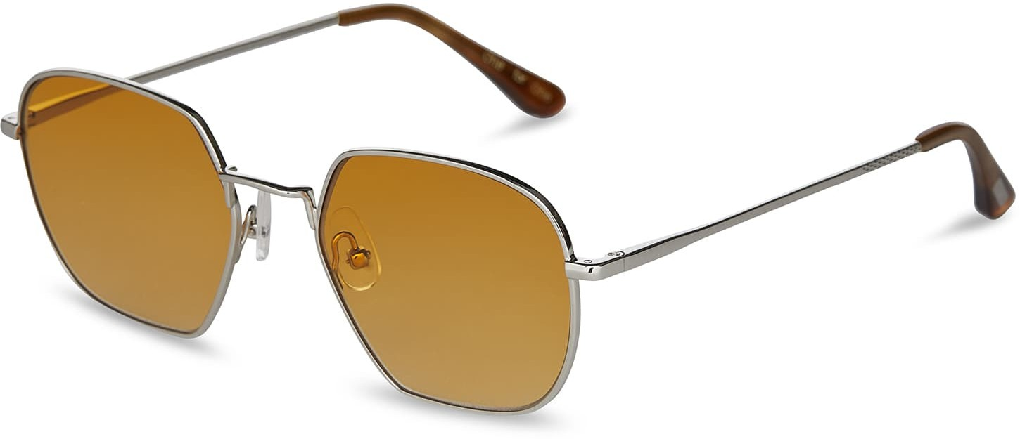 Toms Sawyer Shiny Silver With Yellow Brown Gradient Lens Sunglasses