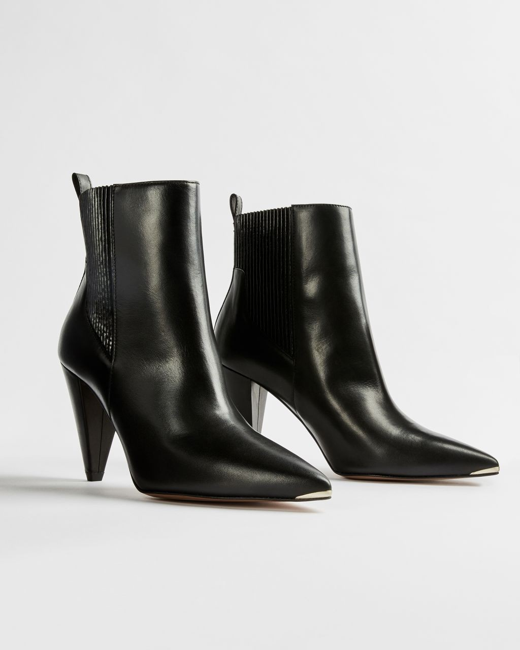Ted Baker Leather Cone Heeled  Ankle Boot