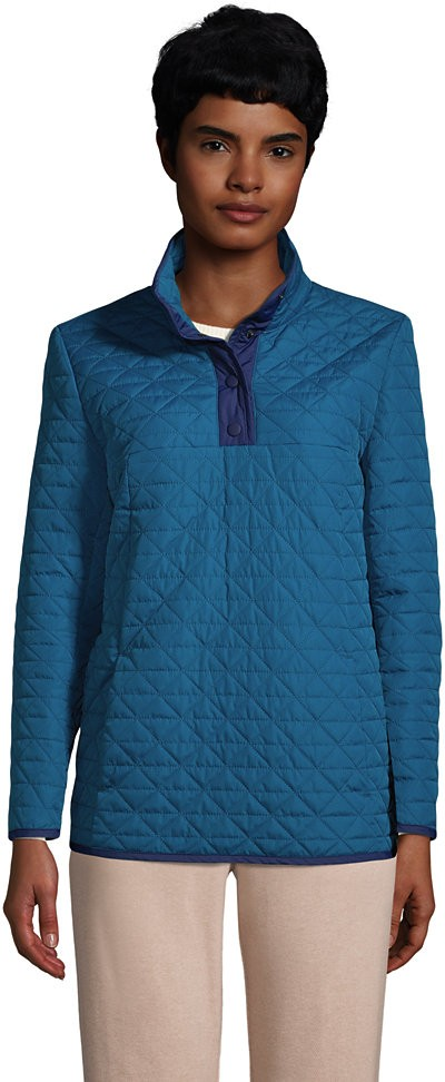 Lands' End Women's Insulated Quilted Snap Neck - Lands' End - Blue - XS Pullover