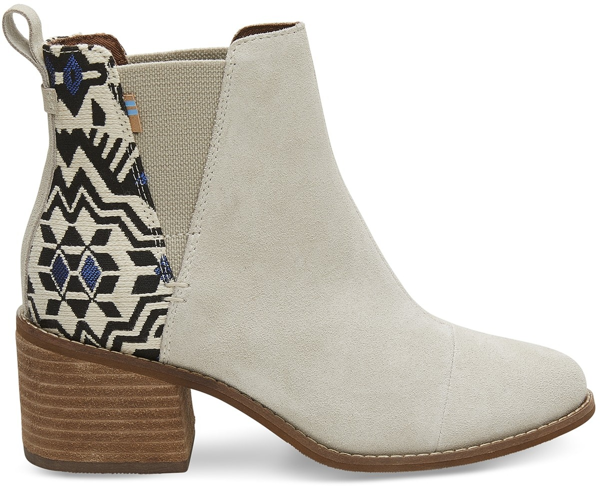 Toms Beige Suede Metallic Jacquard Women's Esme - Size UK4 / US6 Boot