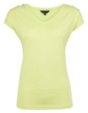 Dorothy Perkins Lime Slub Button  T-Shirt