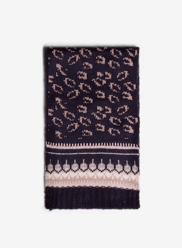 Dorothy Perkins Womens Navy Leopard - Blue, Blue Scarf
